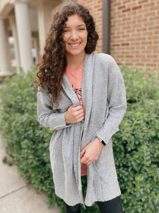 Love That Brown and Grey Long Sleeve Sweater Cardigan