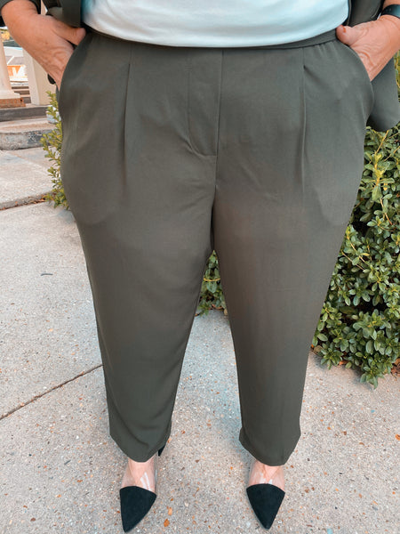 Take Two Olive Cropped Slim Fit Curvy Pants