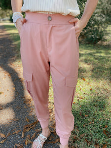 Blushing Brilliance Cargo Jogger Pants