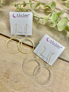 A La Luna Simple Drop Hoop Earrings with Crystal Ball