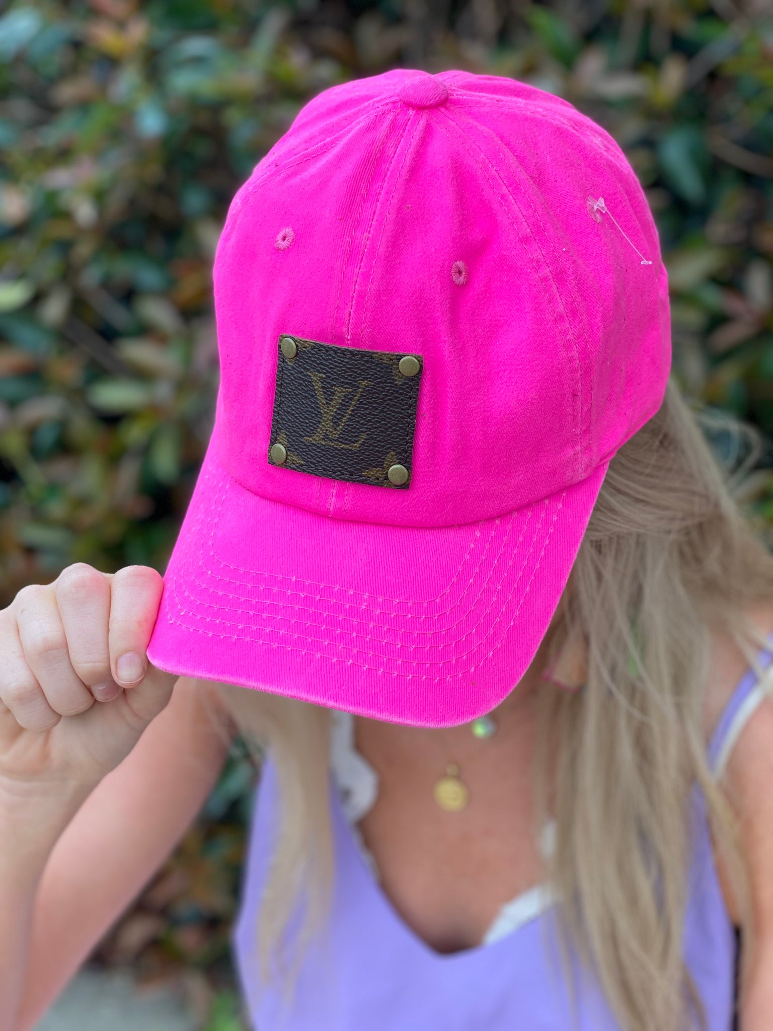 Neon Pink Adjustable LV Patch Ball Cap Hat - Jessi Jayne Boutique