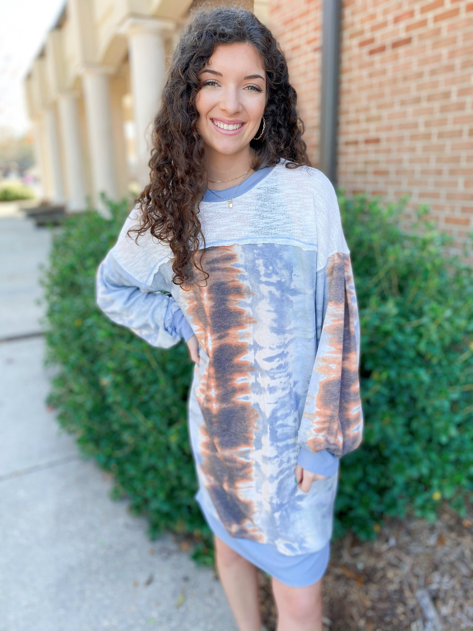 Bubbles Only Dusty Blue Tie Dye Printed Long Sleeve Dress