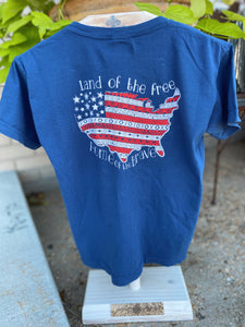 Land of the Free Home of the Brave Kids T Shirt
