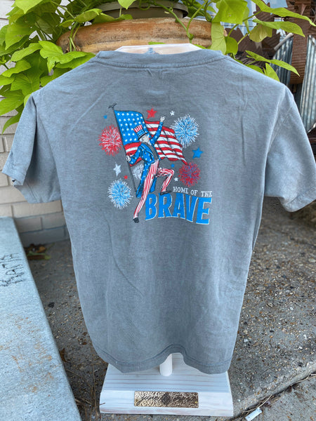 Land of the Free Because of the Brave Kids T Shirt
