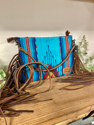 American Darling Southwestern Aztec Leather Fringe Cross-Body