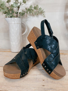 Corky's Black Wow Wedge Sandal