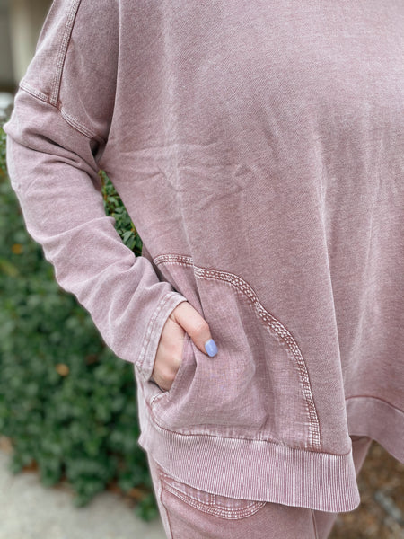 Carefree Faded Plum Mineral Wash Terry Knit Long Sleeve Top