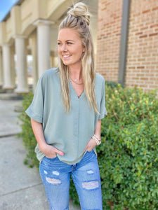 Earned It Sage Green Oversized Blouse
