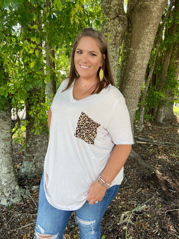 Leopard Pocket Tee Top - Jessi Jayne Boutique