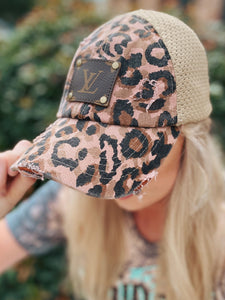 KIG Distressed Leopard Mesh Back LV Patch Hat
