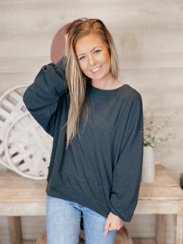 Kensington Blue Round Neck Long Sleeve Top