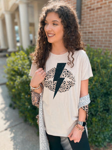 Luscious Leopard Lips Bolt Graphic Tee
