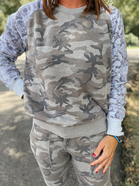 So Speechless Reptile and Camo Burnout Raglan Pullover