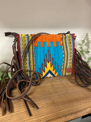 American Darling Multi Southwestern Aztec Fringe Cross-Body