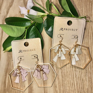 "Hexagon Tassel 2"" Earrings - Jessi Jayne Boutique"