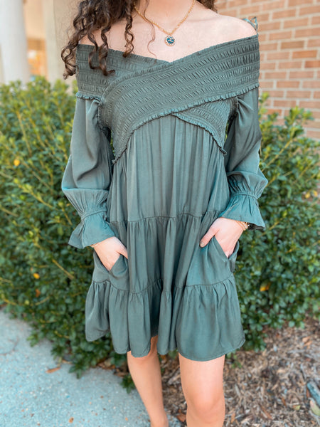 Beauty Nap Olive Long Sleeve Smocking Open Shoulder Dress