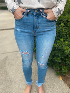 Aspen Skies Distressed High Rise Skinny Jeans