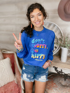 Don't Worry, Be Hippy Cropped Sweatshirt