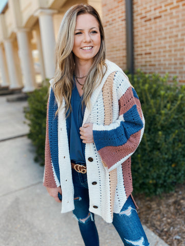 Sway In Crochet Ivory/Color Block Hooded Sweater Cardigan