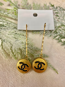 Long Gold Pencil Style Vintage Chanel Gold & Black Button Earrings