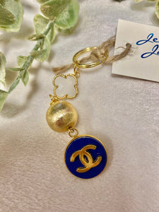 Vintage Chanel Royal Blue Button Keychain with Off White Charm and Gold Ball