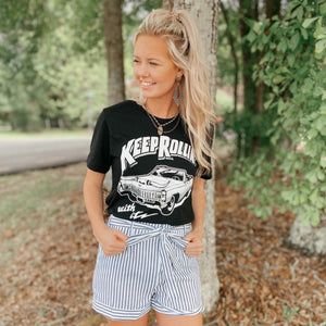Keep Rollin' With It Black Graphic Tee - Jessi Jayne Boutique