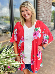 Red Hot Summer Sun Floral Print Open Front Kimono - Jessi Jayne Boutique
