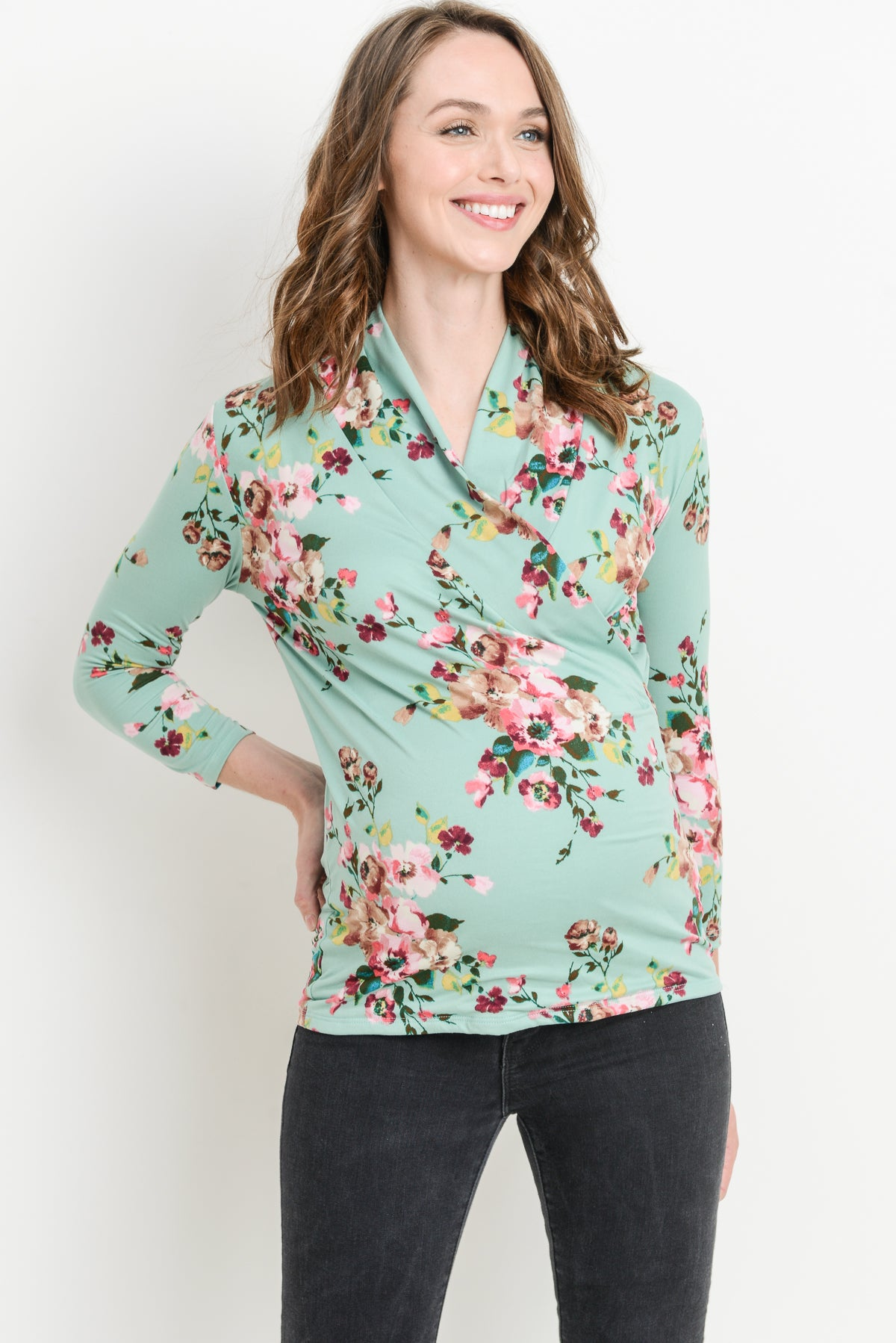 Floral 3/4 Sleeve Maternity & Nursing Surplice Top
