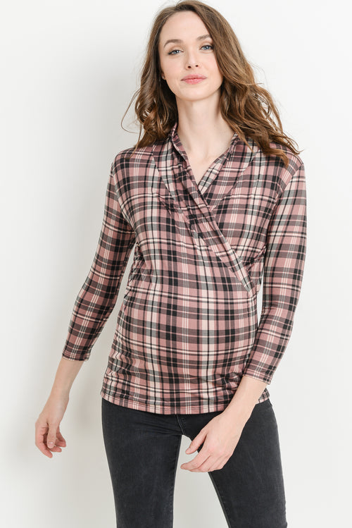 Plaid Surplice Long Sleeve Maternity & Nursing Top