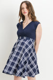 Plaid Surplice Maternity/Nursing Dress