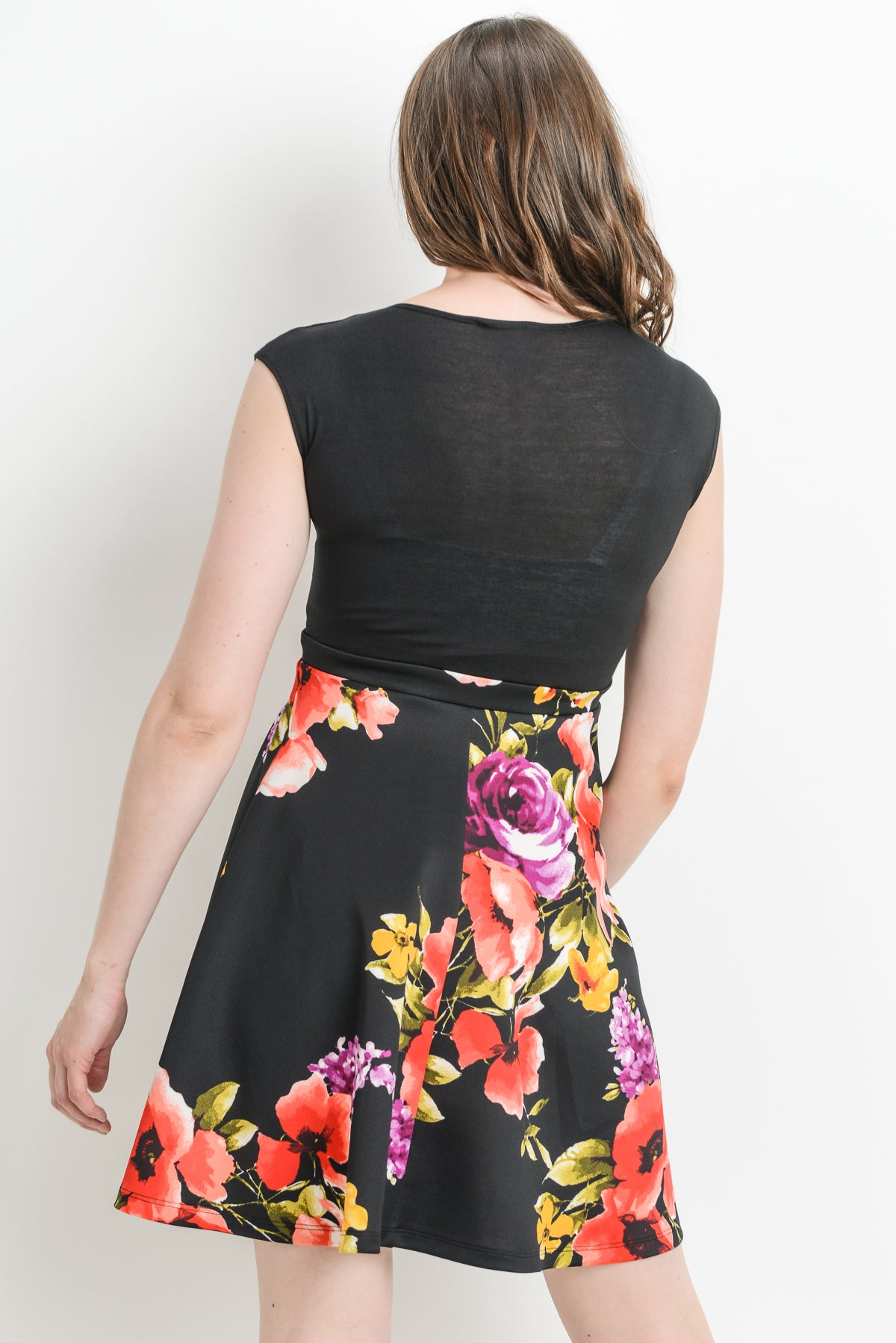 Floral Surplice Maternity/Nursing Skater Dress