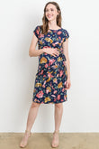 Floral Boat Neck Side Tie Maternity Dress
