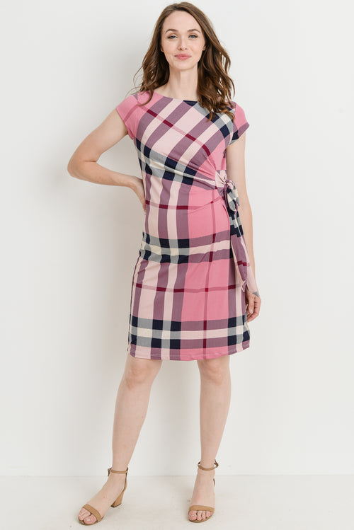 9d3f9c9c54 Plaid Boat Neck with Side Ribbon Maternity Dress