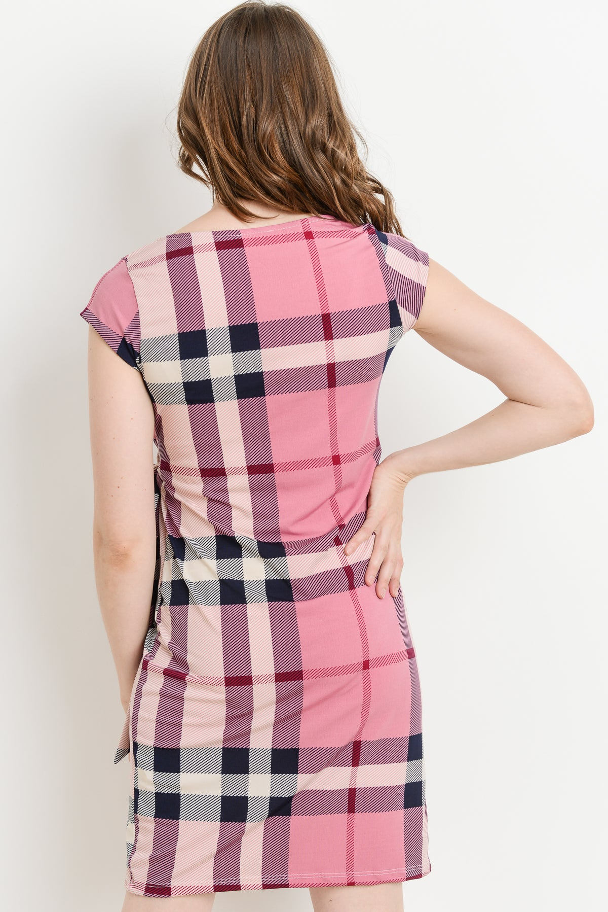 Plaid Boat Neck with Side Ribbon Maternity Dress