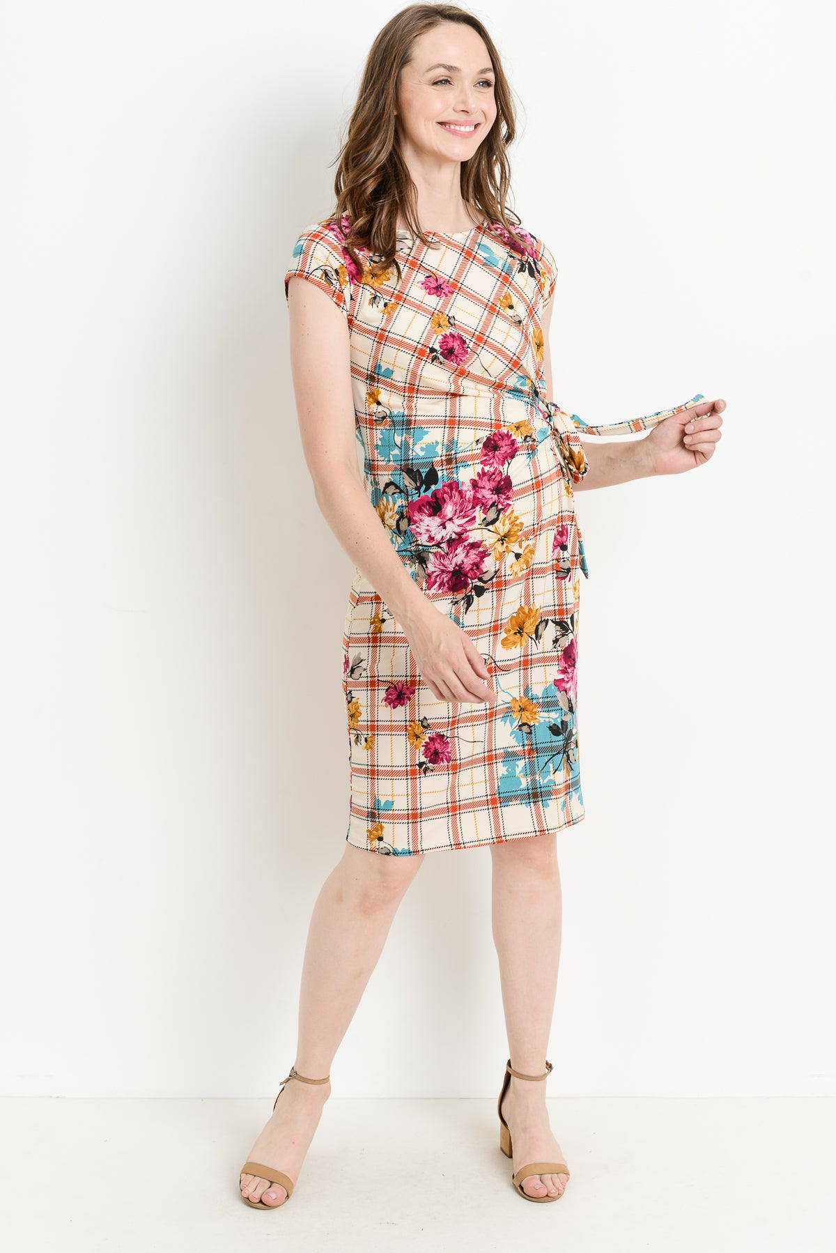 Plaid Boat Neck with Ribbon Maternity Dress