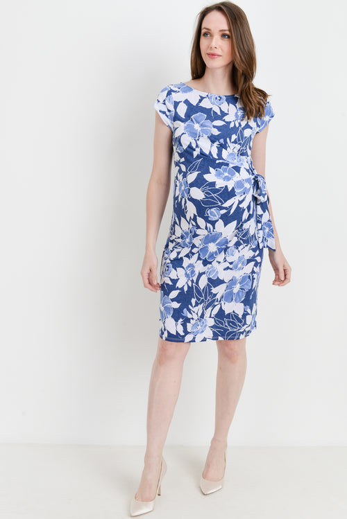 7b4cf620dab Floral Boat Neck Side Tie Maternity Dress