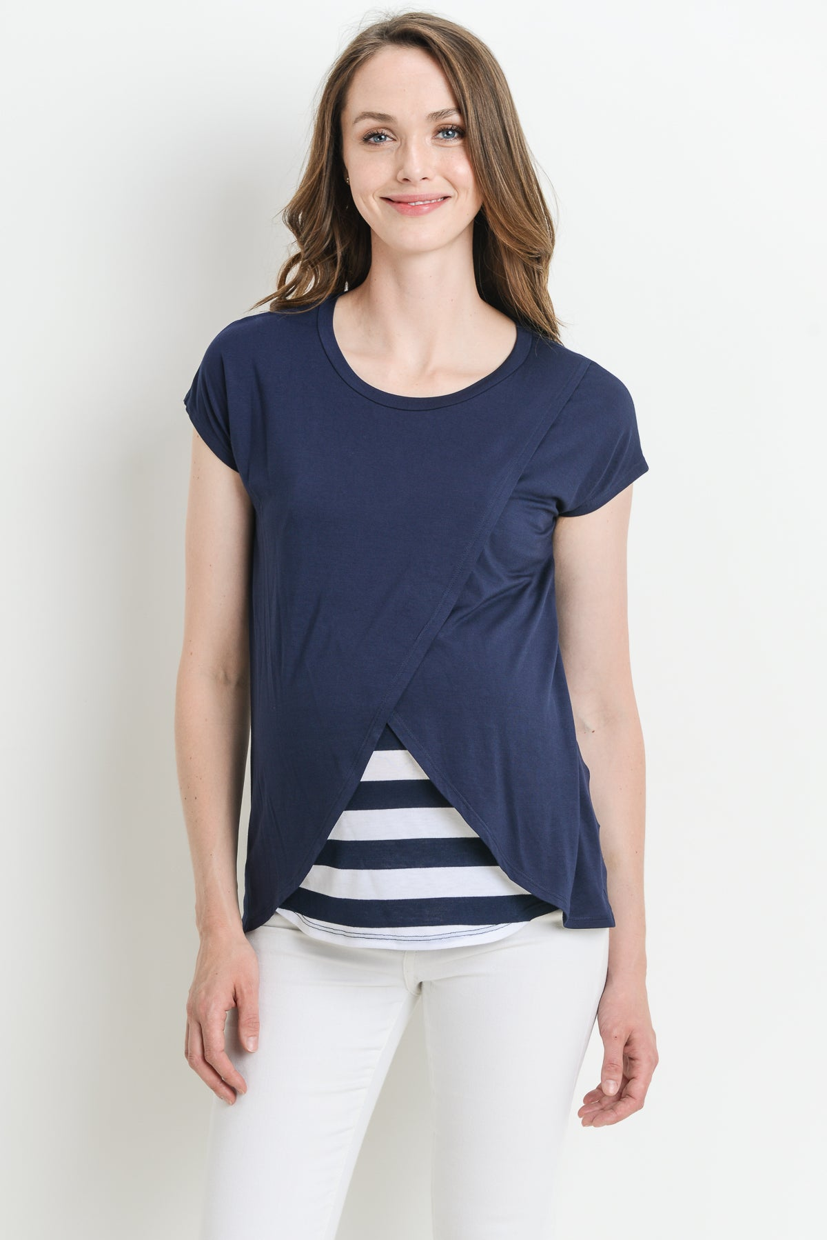 Overlap Striped Maternity & Nursing Top