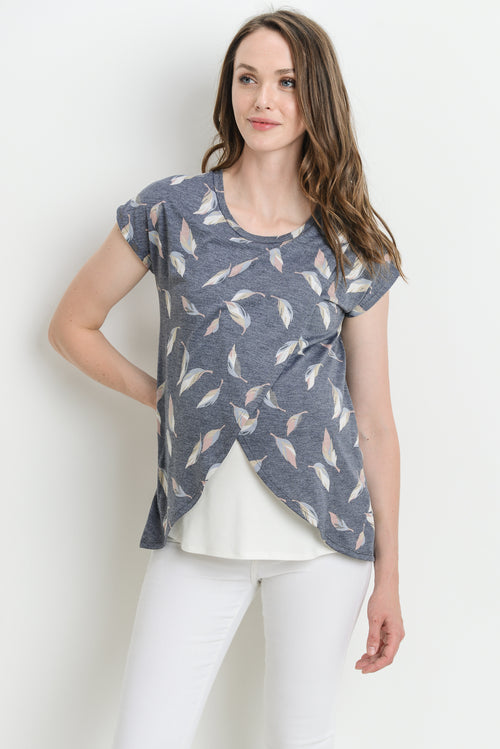 Maternity/Nursing Leaf Print Top