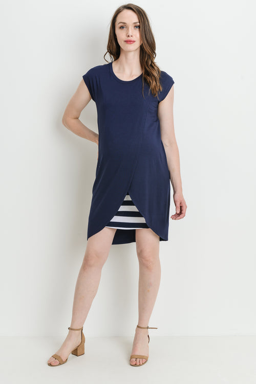 Overlap Striped Maternity & Nursing Dress