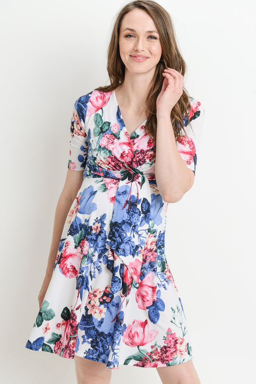 Floral Side Tie Maternity/Nursing Dress