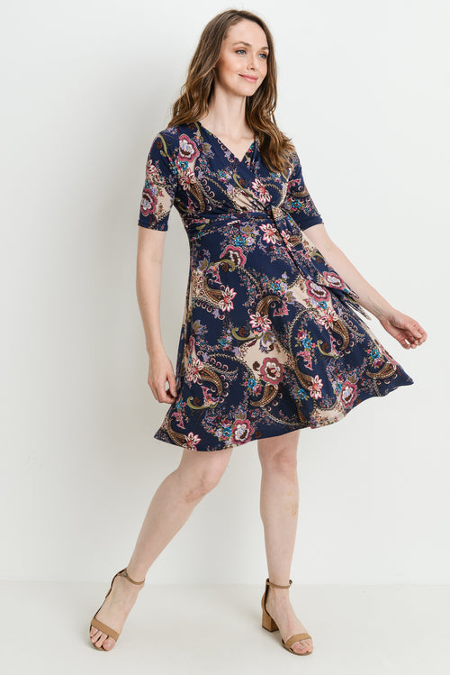Paisley Side Tie Maternity/Nursing Dress