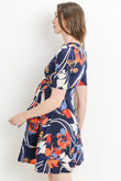 Geo Flower Side Tie Maternity & Nursing Dress
