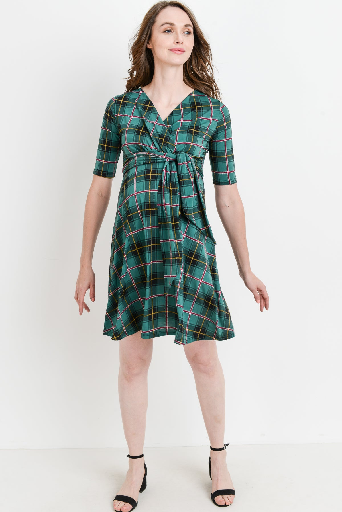 Plaid Side Tie V-Neck Maternity Dress