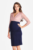 Lace Top Maternity & Nursing Surplice Dress