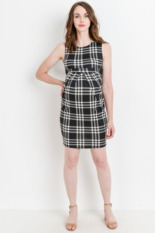 Plaid Pleated Sleeveless Maternity Dress