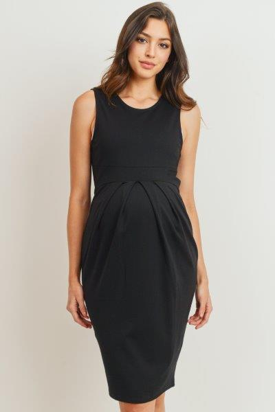 Front Pleated Maternity Sleeveless Dress