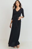 Tie Front Maternity/Nursing Wrap Maxi Dress