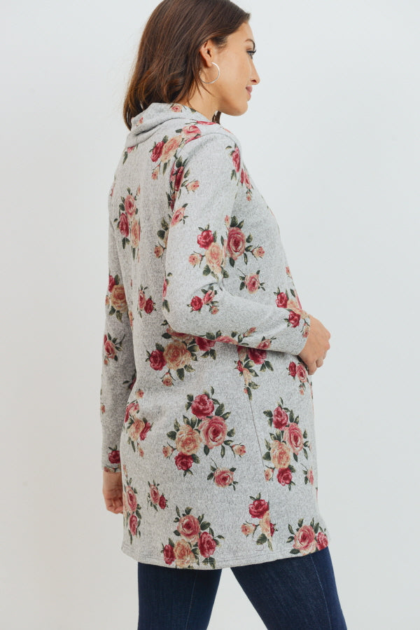 Floral Tunic Shawl Collared Maternity Sweater