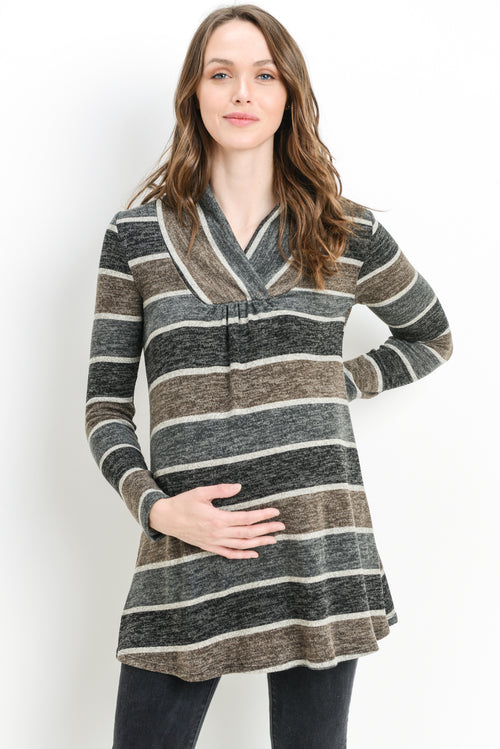 Wide Stripe Shawl Collared Maternity Sweater