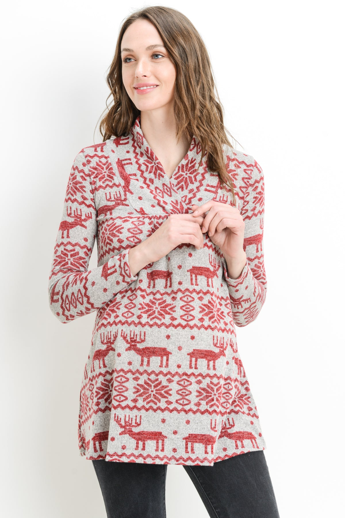 Reindeer Print Shawl Collared Maternity Sweater